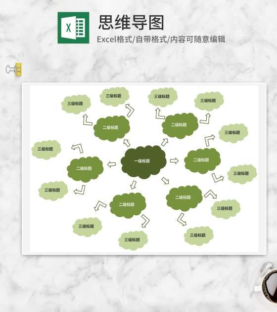 绿色云朵分级思维导图Excel模板