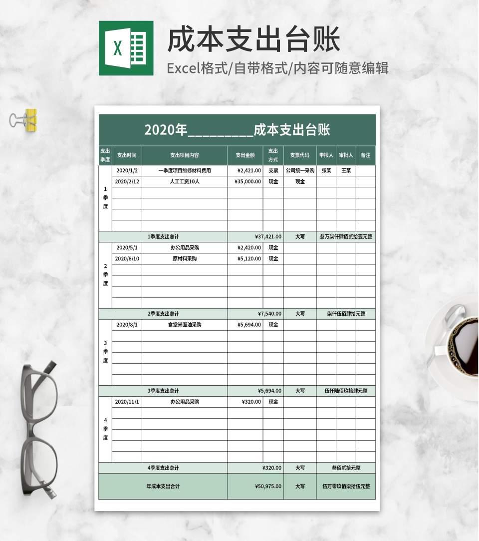 绿色年份季度成本支出台账Excel模板