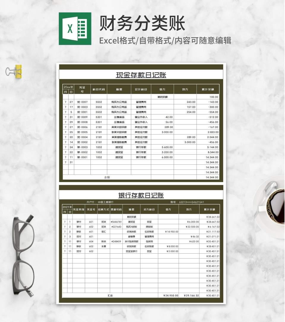 银行存款日记账明细表Excel模板