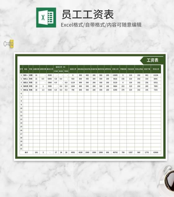 绿色公司员工工资表Excel模板