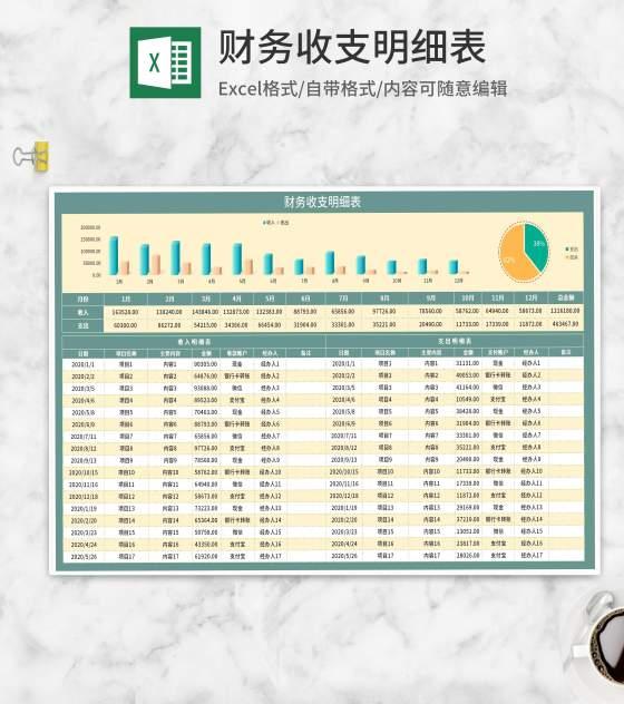 项目月度财务收支明细表Excel模板