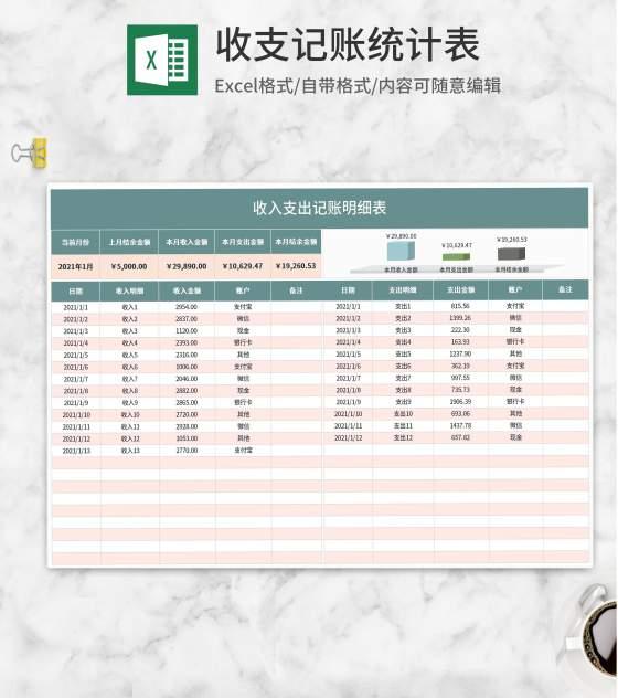 月度收入支出记账明细表Excel模板