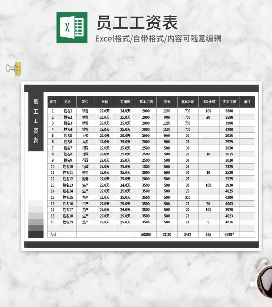 深灰员工工资表Excel模板