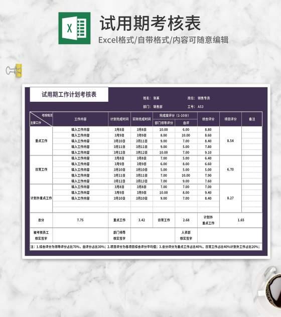 试用期工作计划考核表Excel模板