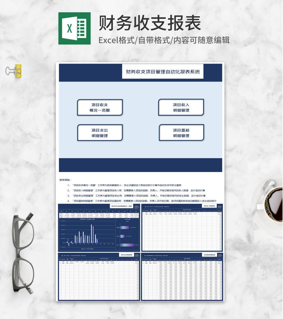 财务项目收入支出盈利一览表Excel模板