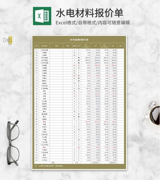 水电材料报价单Excel模板