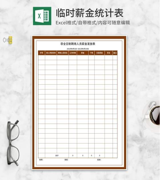 非全日制聘用人员薪金发放表Excel模板