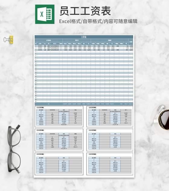 部门员工工资明细表Excel模板