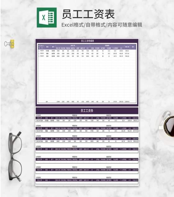 紫色公司员工工资条Excel模板