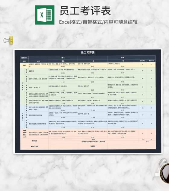 员工考评表Excel模板