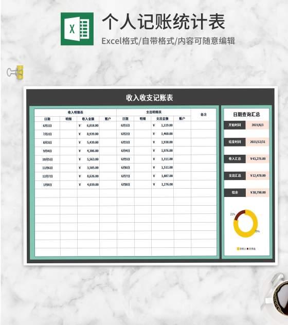 账户收入收支记账表Excel模板