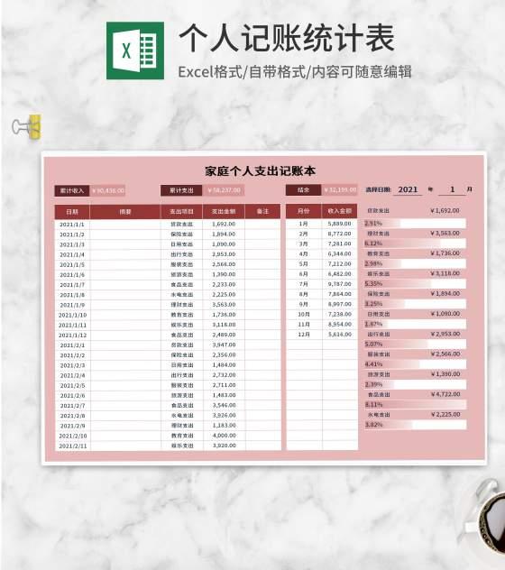 粉色家庭个人支出记账本Excel模板