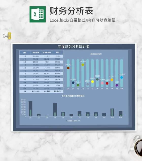 年度财务收支分析统计表Excel模板