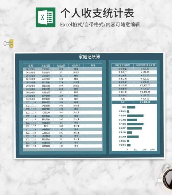 蓝色家庭个人收支记账簿Excel模板