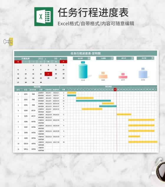 任务行程计划进度甘特图Excel模板