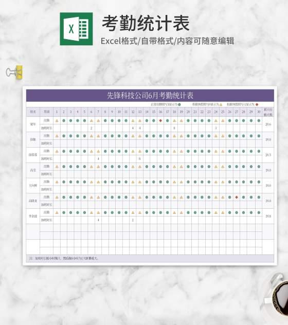 公司月度考勤统计表Excel模板