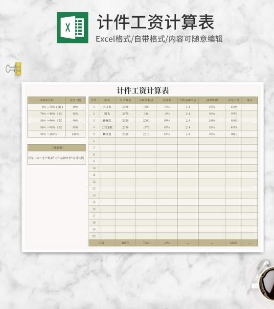 车间生产计件工资计算表Excel模板