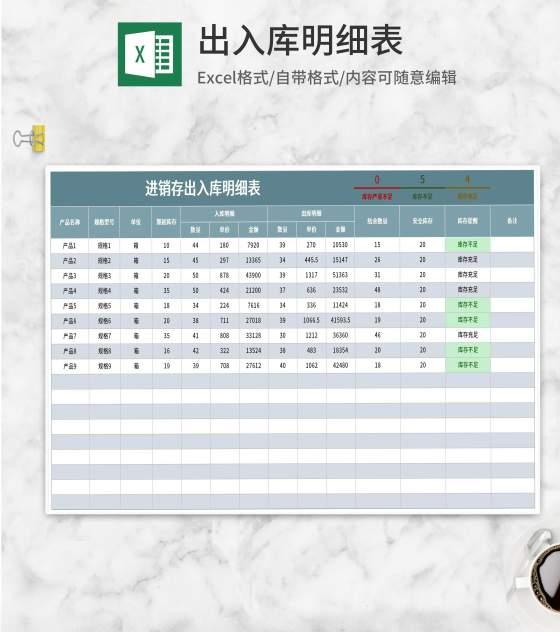 产品出入库明细表Excel模板