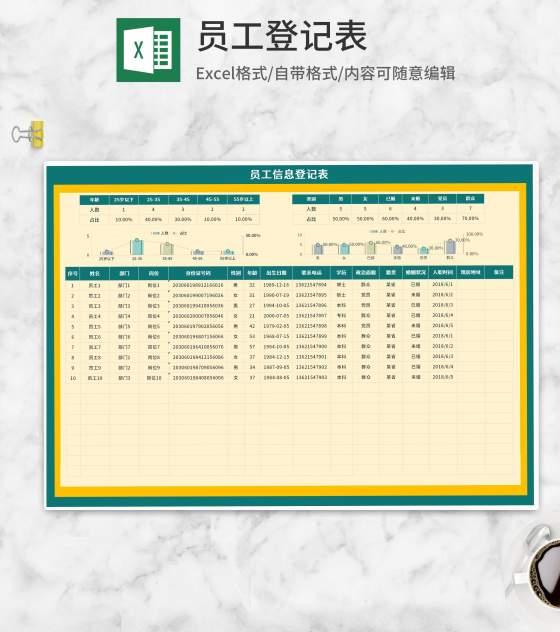 部门员工信息登记表Excel模板