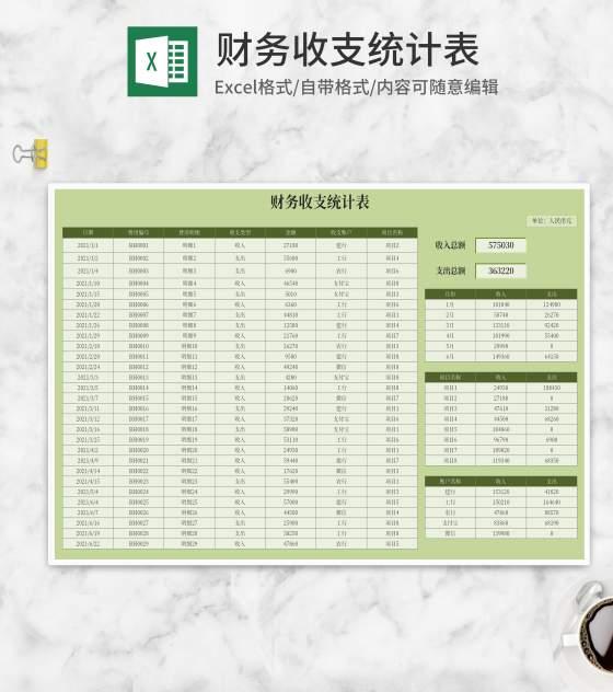 绿色项目财务收支统计表Excel模板
