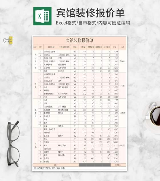 宾馆装修报价单Excel模板