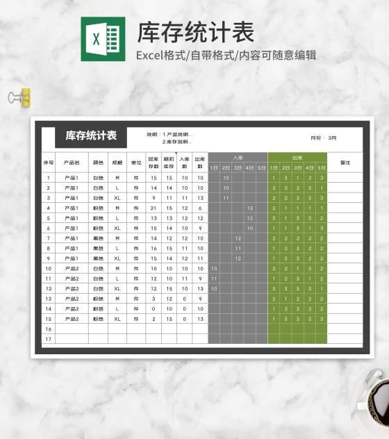 产品库存统计表Excel模板