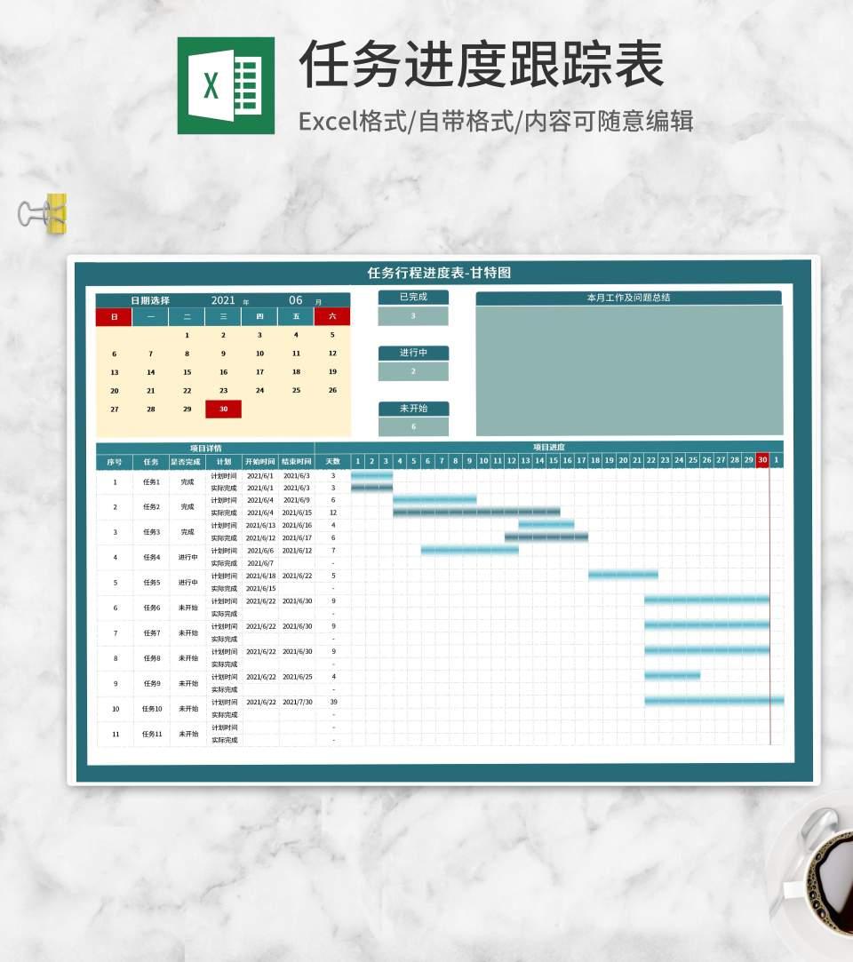 项目任务进度表甘特图Excel模板