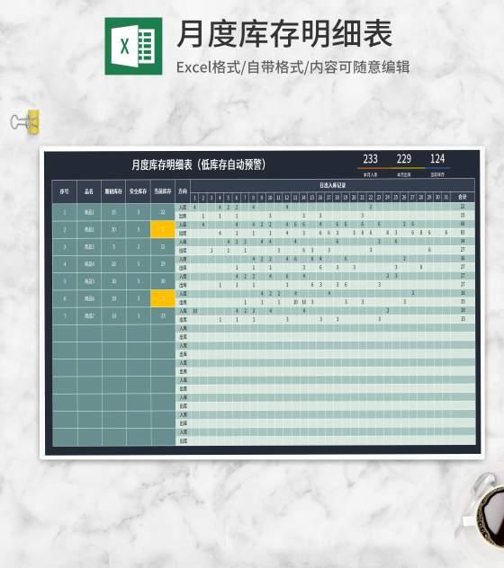 月度商品库存记录明细表Excel模板
