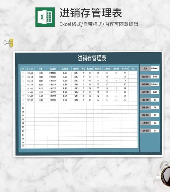 进销存商品管理明细表Excel模板
