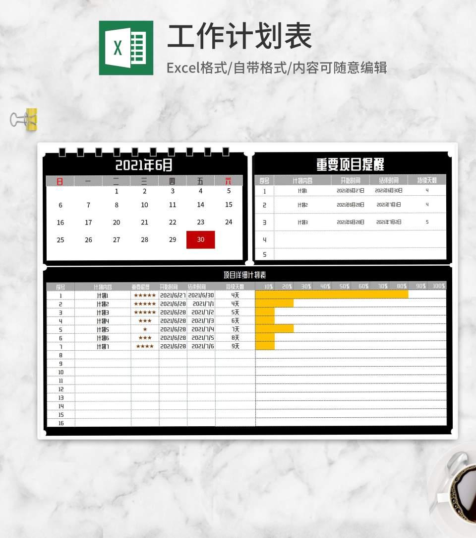 项目详细计划进度表Excel模板