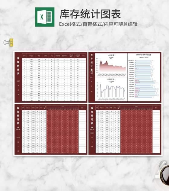 红色多功能库存统计图表Excel模板