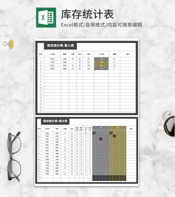 产品库存统计明细表Excel模板