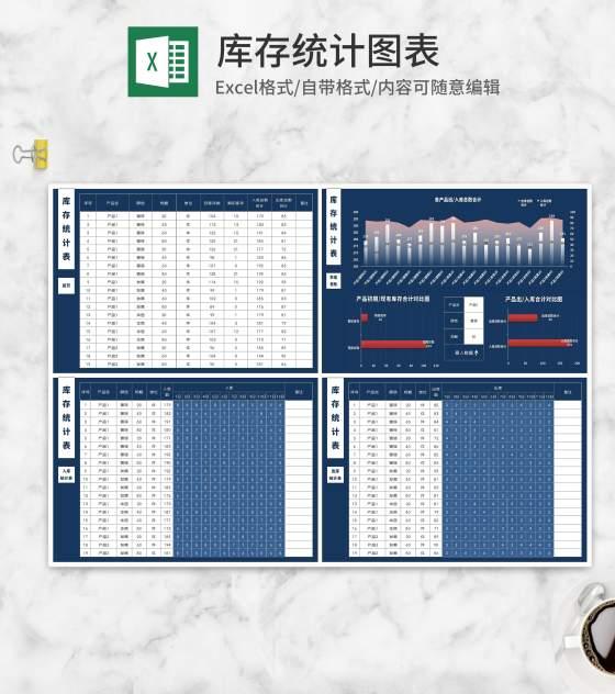 产品出入库数据看板Excel模板