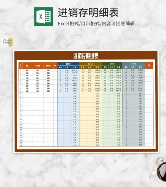货物商品进销存明细表Excel模板