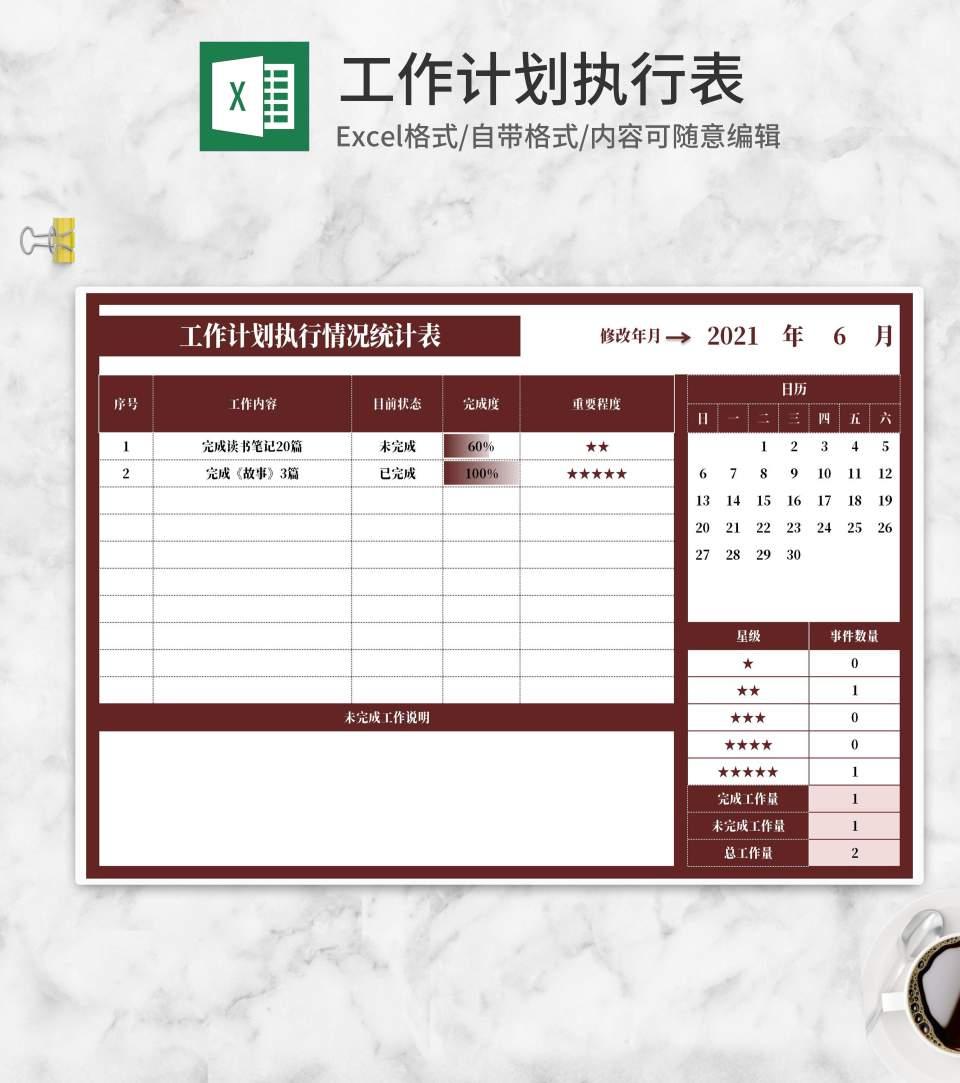 工作计划执行情况统计表Excel模板