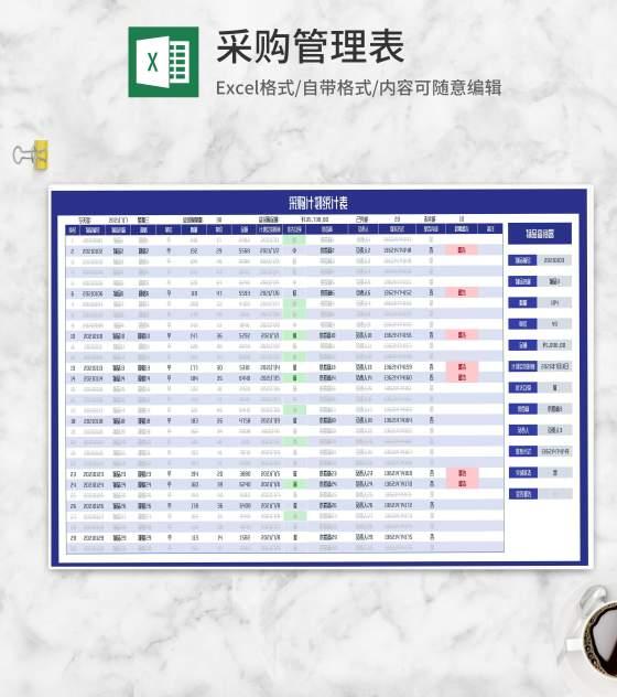 物品采购计划统计表Excel模板