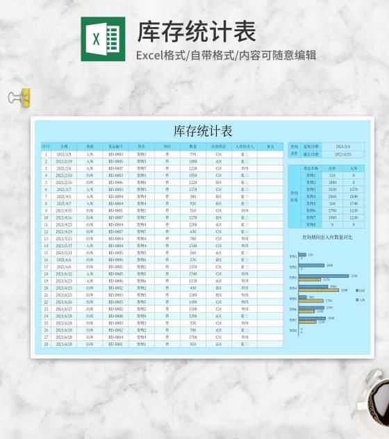 货物库存查询统计表Excel模板