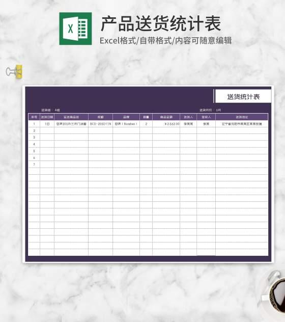 客户商品送货统计表Excel模板