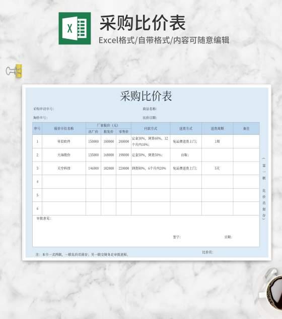 厂家采购比价表Excel模板