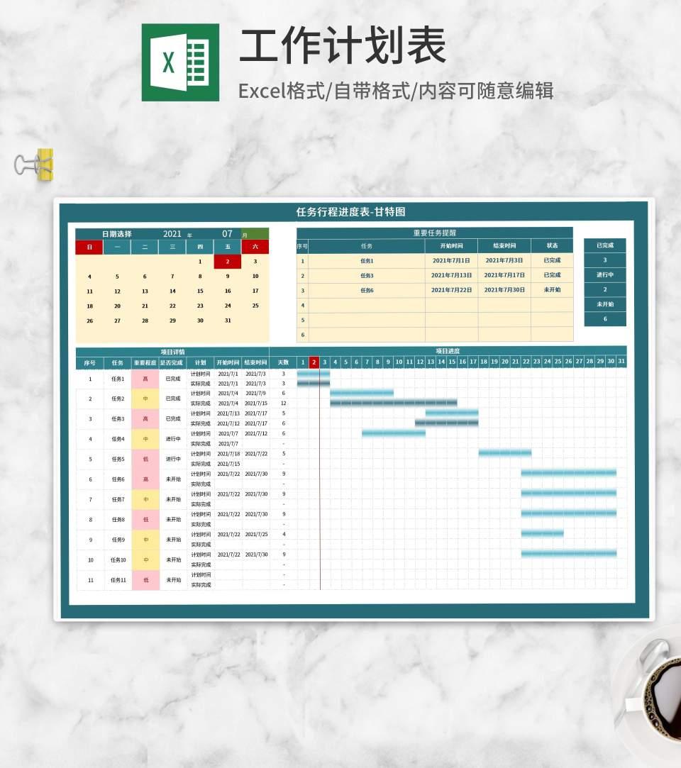 项目任务行程进度甘特图Excel模板
