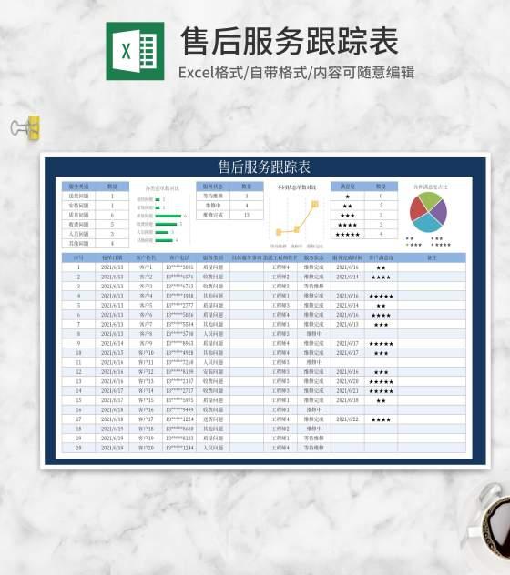 售后服务跟踪表Excel模板