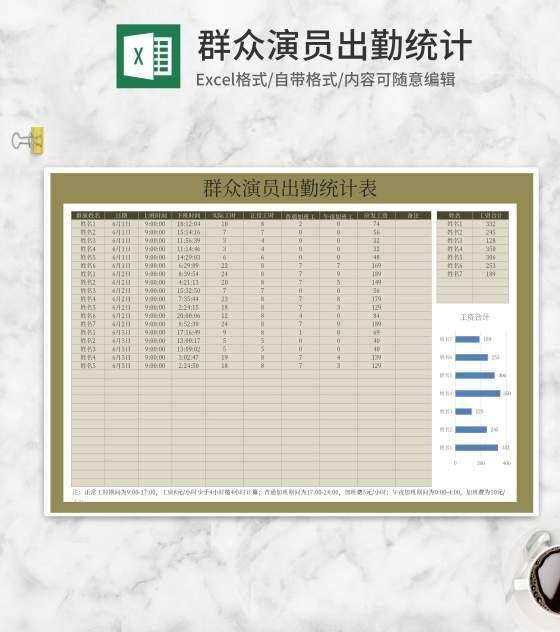 群众演员出勤统计表Excel模板