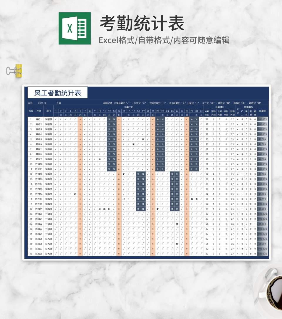 公司部门员工考勤统计表Excel模板