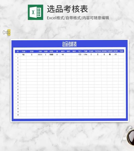 产品选品考核表Excel模板