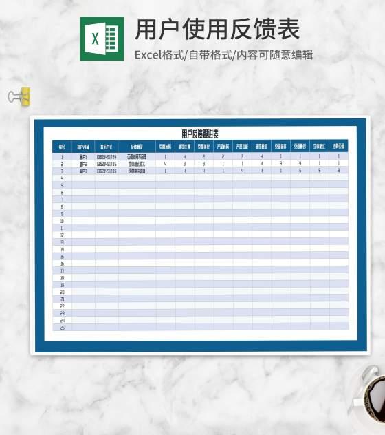 用户反馈意见跟进表Excel模板