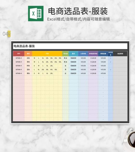电商服装选品表Excel模板