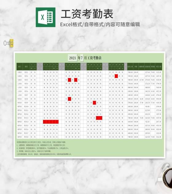 绿色部门员工工资考勤表Excel模板