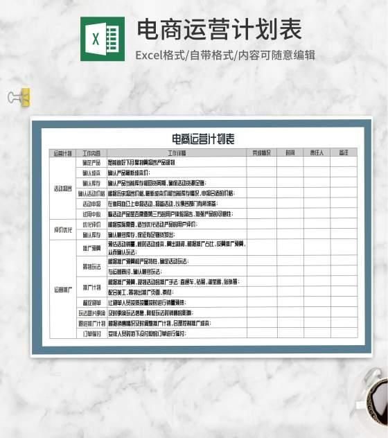 电商运营推广计划表Excel模板