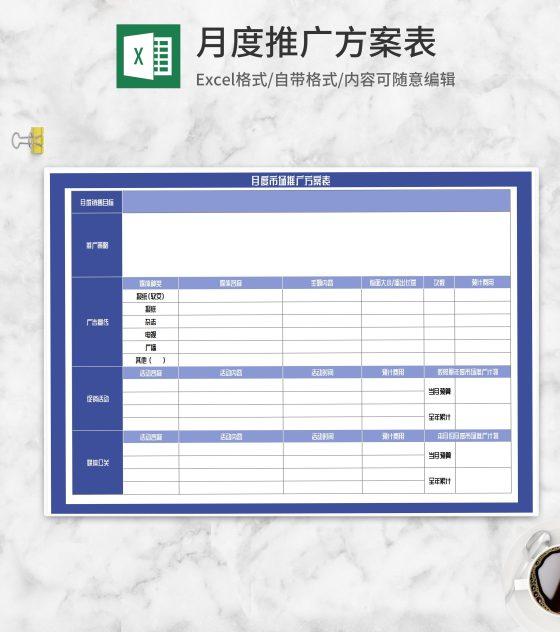月度市场推广方案表Excel模板
