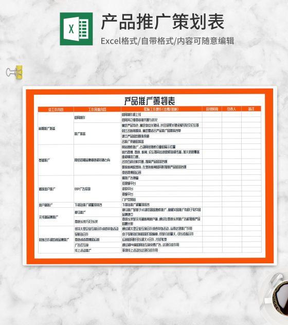 产品推广策划表Excel模板